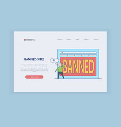 ban on internet concept on web page template vector image
