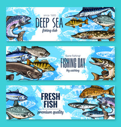 Banners for fishing or fish sea life vector