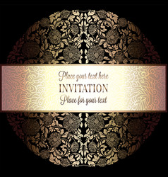 Baroque background with antique luxury black and vector