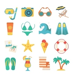 Beach Icon Flat Set vector