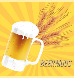 beer mugs glass of beer barley background i vector image