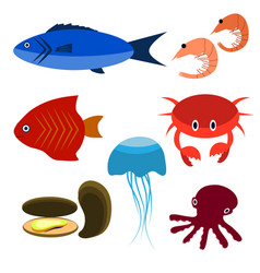 big set of sea creatures vector image