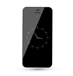 Black mobile phone with analog clock isolated vector
