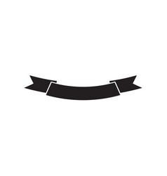 black ribbon silhouette label on isolated white vector image