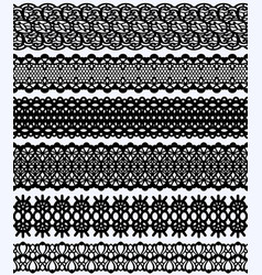 Blockprint wide lace borders set black design vector