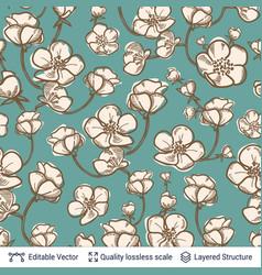 blooming flowers seamless pattern vector image