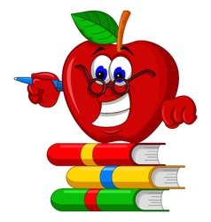 Books with apple cartoon presenting vector