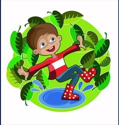 Boy foliage spring vector