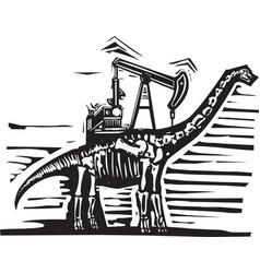 Brontosaurus oil well pump vector
