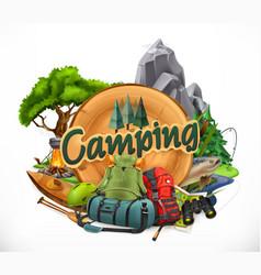 Camping 3d emblem vector
