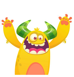 Cartoon yellow furry monster vector
