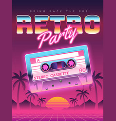 Cassettes poster retro disco party 80s 90s vector