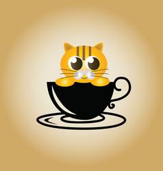 cat logo coffee vector image
