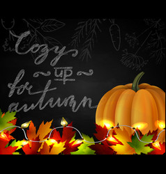 Chalkboard with autumn leaves and pumpkin vector