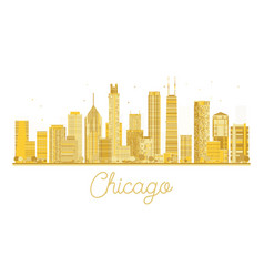 Chicago golden silhouette isolated on white vector