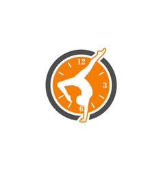 Clock yoga sport logo vector