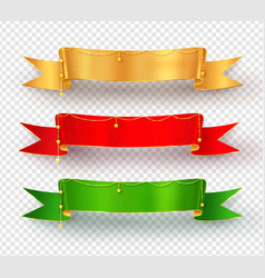 Collection realistic festive ribbon banners vector