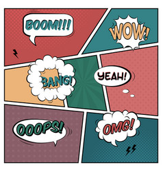 colorful template comic book page with various vector image
