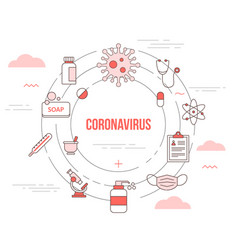 Coronavirus concept with icon set template banner vector