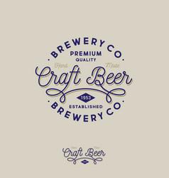 craft beer brewing company logo pub emblem vector image
