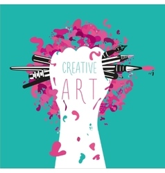 Creative and art Hand is holding arts tools vector image