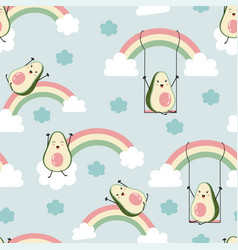 Cute avocados and rainbows print design seamless vector