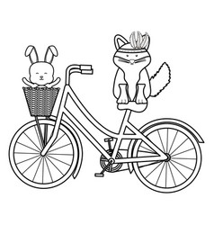 Cute fox and rabbit with feathers hat in bicycle vector
