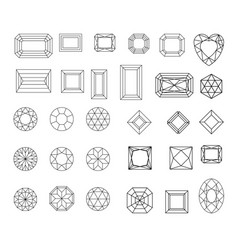 Diamond set of gems drawing line crystal vector