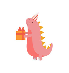 Dinosaur in party hat with gift box cute colorful vector