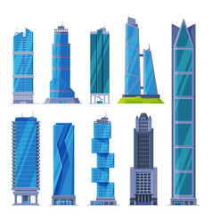 downtown skyscrapers collection modern city vector image
