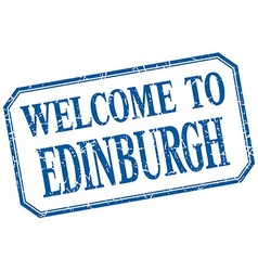 Edinburgh - welcome blue vintage isolated label vector