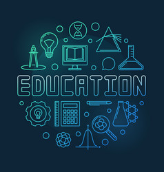 education concept round colored outline vector image