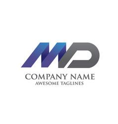 elegant md letter logo vector image