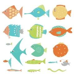 Fish set in color vector