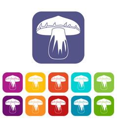 Forest mushroom icons set flat vector