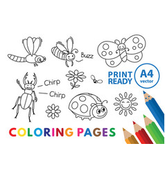 funny insects coloring book vector image