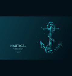 Futuristic with hologram neon nautical anchor vector