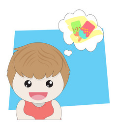 girl is thinking about ice cream vector image
