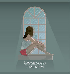 Girl looking out on rainy day vector
