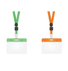 Green and orange lanyard vector