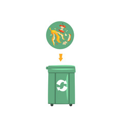 green trash garbage can with sorted garbage vector image