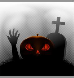 Halloween pumpkin zombie hand grave vector