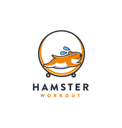 hamster workout cartoon mascot logo vector image