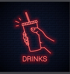 hand hold paper cup neon sign male holding paper vector image