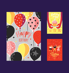 Happy birthday greeting card poster banner vector