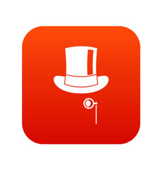 hat with monocle icon digital red vector image