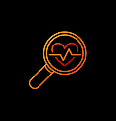 Heartbeat in yellow magnifying glass vector