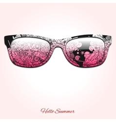 Hello summer sunglasses design vector image