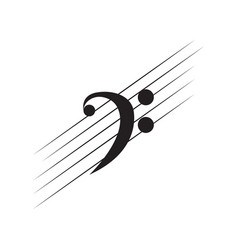 isolated bass clef note on a pentagram vector image