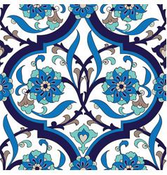 Iznik tile floral seamless pattern design vector